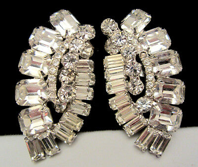 "Rare Huge Vintage 2"" Rhodium Plated Clear Rhinestone Clip On Earrings A39"