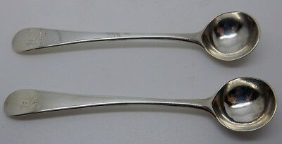 Pair of Antique 1798 Georgian English Hallmarked Sterling Silver Mustard Spoons