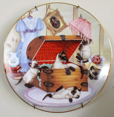 Set of 6 Hamilton Collection Country Kitties Decorative Plates 1988 Porcelain