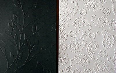 BLACK & WHITE ~ EMBOSSED CARDSTOCK x 8 -  SCRAPBOOKING/CARDMAKING