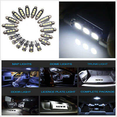 19Pcs 12V White Car LED Interior/Dome/Map/Reading/Footwell/License Plate Lights