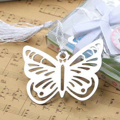 1pc Metal Silver Butterfly Shape Bookmark Stationery Reading Accessories Gift
