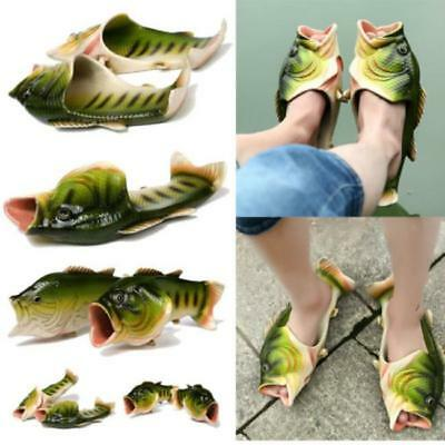 Men Women Funny Fish Shaped Soft Slippers Flats Sumer Beach Flip Flops Shoes LC