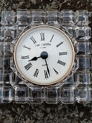 "Glass Clock Approx 4"" Square"