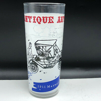 ANTIQUE AUTOS DRINKING GLASS cup mug classic automobile car 1911 Maxwell vintage