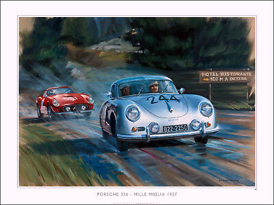 Porsche 356 C and Ferrari 250 GTO Mille Miglia 1957 Limited Edition Print NEW!