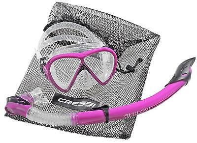 Cressi Bonete Deluxe Set Diving Mask Snorkel Mesh Bag Swimming Beach Purple