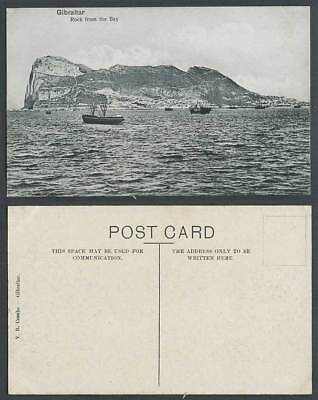 Gibraltar Old Postcard Rock from the Bay Ships Boats Panorama General View V.B.