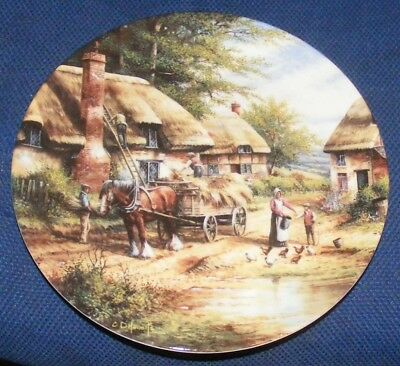 1992 20cm Wedgwood Country Days Mending The Thatch Collectors Plate