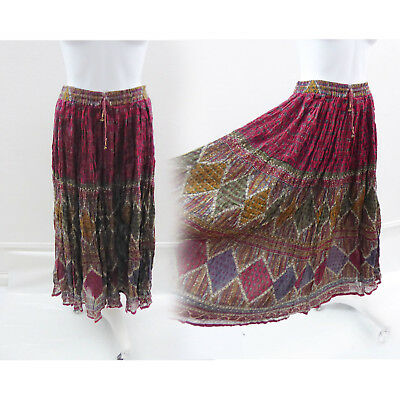 Vintage Broomstick Skirt One size Burgundy Tribal Hippie Boho Cotton Gauze India