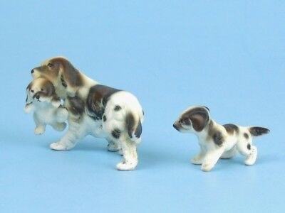 Vintage BONE CHINA Miniature ENGLISH SETTER Dog Family Puppy in Mouth Figurines