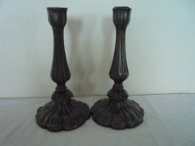 Pair of Old Pewter Candlesticks Decorative Interiors