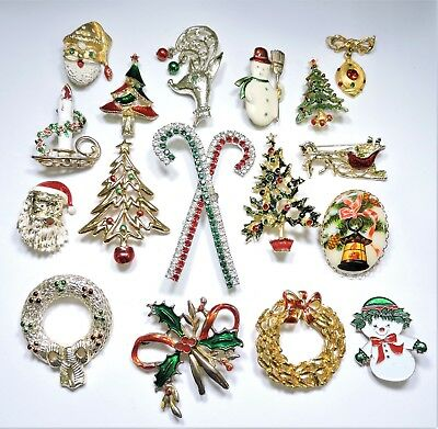 Christmas Brooches And Pins.Lot Of Vintage Rhinestone And Enamel Christmas Brooches Pins Ap18902