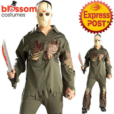 CA682 Deluxe Zombie Jason Friday The 13th Halloween Mens Horror Costume + Mask