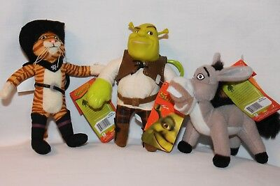 New With Tag  Lot Of 3 Shrek 2 Backpack Plush Clips