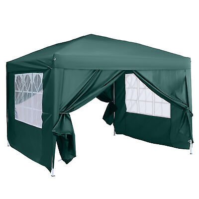 Outsunny 3m x 3m Pop Up Gazebo Party Tent Canopy Marquee with Storage Bag Green