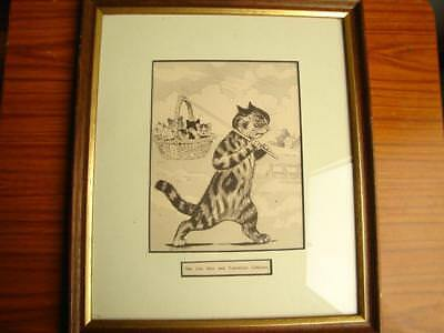 Superb Rare Original Antique Period Louis Wain Cat Print Picture The City Kits