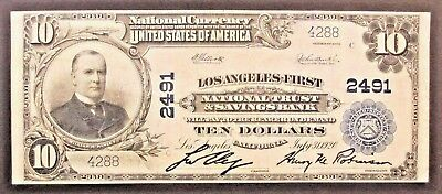National Currency, $10.00 Los Angeles-First, National Trust & Savings Bank, 1920