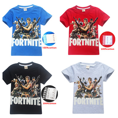 100% Cotton Fortnite Boys Girl's Short Sleeve T-Shirts Tops tshirts Clothes Gift