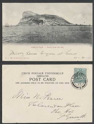 Gibraltar GB KE7 1/2d 1903 Old UB Postcard The Rock from The Bay, Boats Panorama