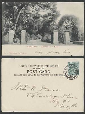 Gibraltar KE7 1/2d 1903 Old UB Postcard Alameda Upper Road Gardens Entrance Gate
