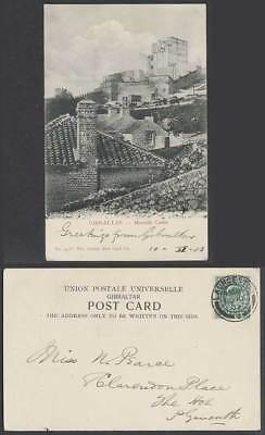 Gibraltar GB KE7 1/2d 1903 Old UB Postcard Moorish Castle Ruins Wall Tower House