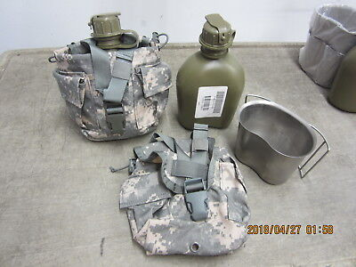 Qty. 2   New OD Canteens w/ Molle Utility / Canteen Pouch and Canteen Cup in VGC