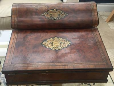 Stunning Quality Antique  Inlaid Campaign / Lap Desk Coat of Arms