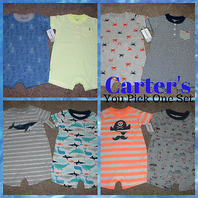 c1cb39c61 CARTERS BABY BOYS Shorts Romper Outfit 2pk Set Size NB 3 6 9 12 18 ...