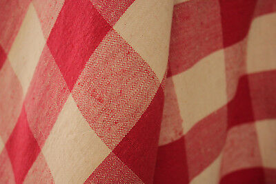 Antique French red check fabric 1940s cotton and linen gorgeous TIMEWORN length