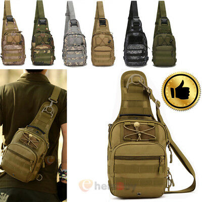 Mens Backpack Molle Tactical Sling Chest Bag Assault Pack Messenger Shoulder Bag