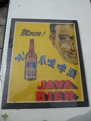 Original Plakat - Mmm Java Bier - Kolonial Beer Reklame Holland / Indonesien