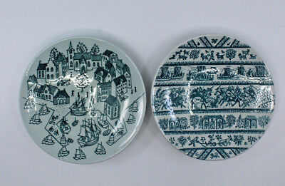 Danish Nymolle Art Faience Hoyrup Small Plate 4006 4-5a Denmark Set of 2 AS-IS