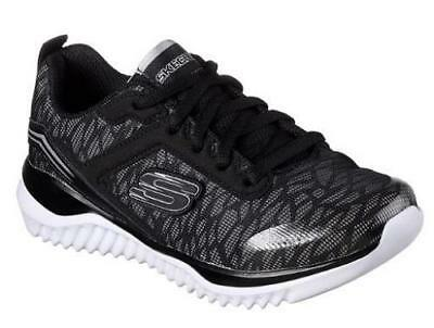 Boy's Youth SKECHERS TURBOSHIFT Black+Silver Athletic Sneakers Shoes 97750 NEW