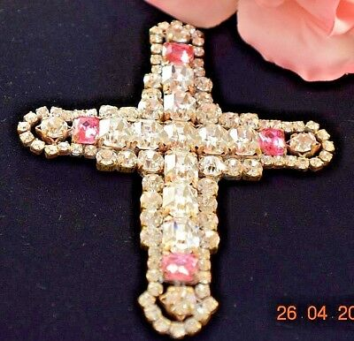 Bijoux Mg Signed Pink & Clear Emerald Cut Rhinestone Cross Pendant 330