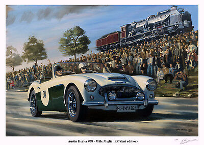 Austin Healey at the Mille Miglia, 1957 Limited Edition Print