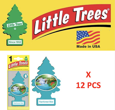 Rainforest Mist Freshener air Little Trees 10106 Air Tree MADE IN USA Pack of 12