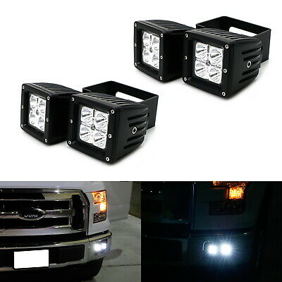 80W Dual LED Pod Lights w/ Foglight Opening Mount, Wires For Ford F150 F250 F350