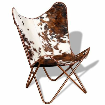 vidaXL Butterfly Chair Real Cowhide Leather Handmade Vintage Brown White Cafe