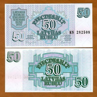 Latvia, 50 Rubli, 1992, P-40, UNC > First Issue Ex-USSR