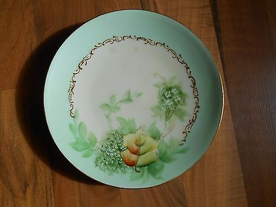 Old Vintage / Antique Mint Green Leaves Leaf Goldtone Small Plate Elegant Ornate
