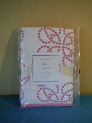 """New Pottery Barn Kids Baby Hannah Quilted Sham 100% Cotton Pink 2"""" x 16"""""""