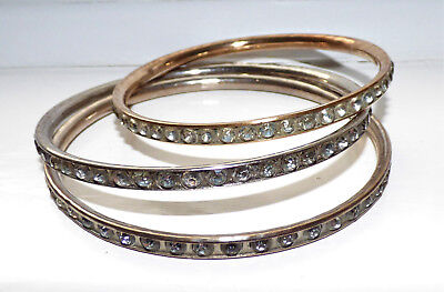 Antique Art Deco Slave Bangles X3 Diamond Paste 1920's Slave Bangles Bracelet
