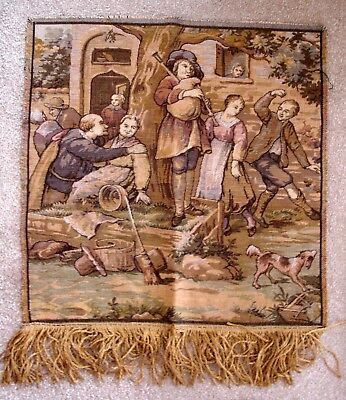 Vintage Machine Woven Wool Tapestry Wall Hanging Picture Medieval Marketplace