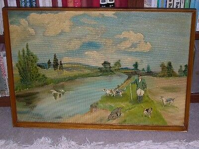 "Large Otterhound Otter Hunting Dog Oil Painting 1967 Signed ""barford Wiltshire"""