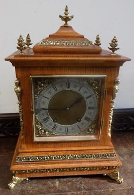 lenzkirch 1/4 striking oak and brass bracket clock