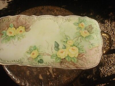 Antique Early 1900s Vanity Tray Platter Hand Painted, Yellow Roses, Large 15 ""