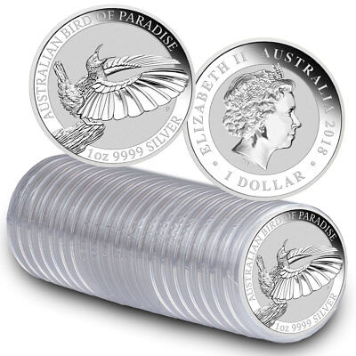 Roll of 20 - 2018-P Australia 1oz Silver Bird of Paradise $1 BU SKU53597