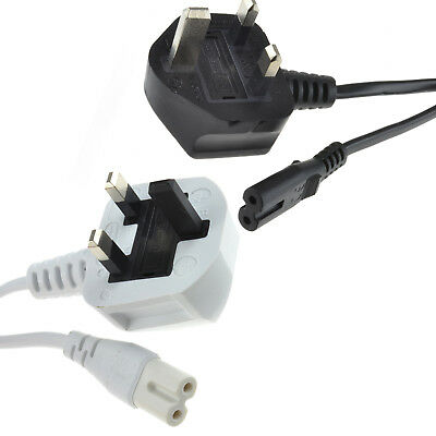 Figure 8 Power Cable UK Plug to C7 Lead for DEL TV Samsung/LG/Cello Black/White