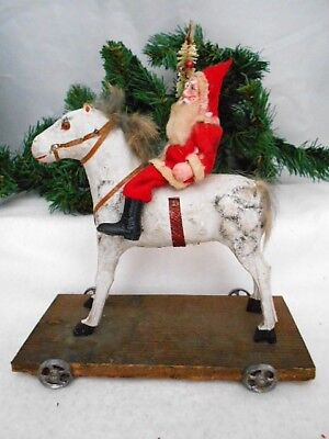 Antique German Pull Toy W Santa Riding A Compo Horse W Glass Eyes On Wheels